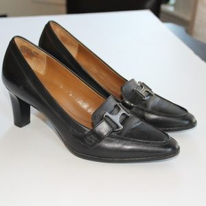 ROCKPORT Black Leather Buckle Heels